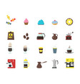 Cartoon coffee shop color icons set vector image