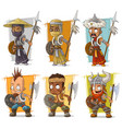 cartoon warriors with spear character set vector image vector image