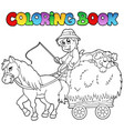 coloring book with cart and farmer vector image vector image