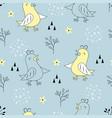 cute bird scandinavian pattern vector image