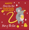 cute gray rat with gold coin vector image vector image