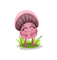 Cute pink mushroom character with human face