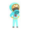 exterminator in blue protection uniform pest vector image