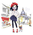 fashion girl in paris vector image