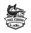 fishing club emblem template with pike fish vector image vector image