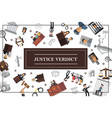 flat law and judicial system concept vector image