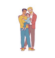 gay family with two happy men vector image