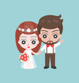 groom and bride holding hands cute character vector image