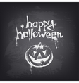 Halloween text design with pumpkin on chalkboard vector image vector image