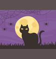 happy halloween black cat night moon bat trick or vector image