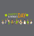 happy st patricks day poster with people wearing vector image