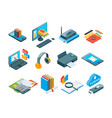 isometric symbols online education icons e vector image vector image