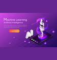 isometric web banner personal assistant ai robot vector image
