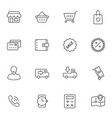 market and shopping mall line icons set vector image