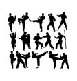 martial art silhouettes vector image vector image