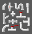 plastic pipes and tubes pipeline fittings vector image