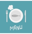 Plate with fish fork knife and chefs hat vector image vector image