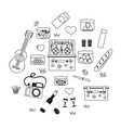 romantic picnic set with a guitar vector image
