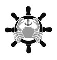 sea club emblem with crab and handwheel vector image vector image