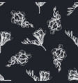 seamless pattern with hand drawn chalk freesia vector image