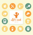 set of clean line icons featuring various kitchen vector image vector image