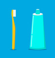 tooth brush and tooth paste vector image