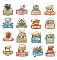 wild animals and birds hunting sport icons vector image vector image
