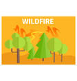 wildfire warning ecology themed cartoon poster vector image vector image