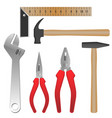 metal and wooden tools for repairment and building vector image