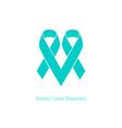 Ovarian cancer Heart symbol teal ribbon flat shape vector image