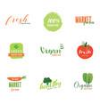 logo organic food green market vintage style vector image