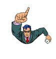 a businessman with a smartphone index finger up vector image vector image