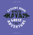 Adventure on kayak badge vector image vector image