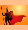 ancient warrior wearing helmet and red cloak vector image vector image