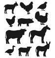 cattle farm animals and birds silhouettes vector image