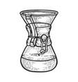 chemex coffeemaker sketch engraving vector image vector image