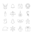 Christmas thin line icons vector image