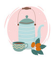 coffee time coffee cup kettle and seeds fresh vector image