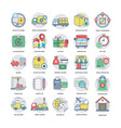 collection of logistics delivery flat icons vector image vector image