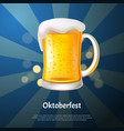 cool craft beer with foam in glass mug 3d vector image vector image