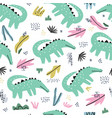 crocodile flat hand drawn seamless pattern vector image vector image