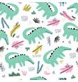 crocodile flat hand drawn seamless pattern vector image