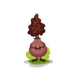 cute truffle mushroom character with human face vector image vector image