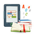 ebook device contains millions of paper books vector image vector image