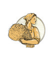 female wheat farmer drawing vector image