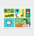 flat wild cute animals collection vector image vector image