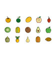 fresh nutrition harvest fruits icons set vector image vector image