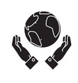 globalization in hands black concept icon vector image vector image