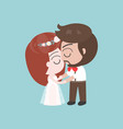 groom and bride kissing cute character for use as vector image