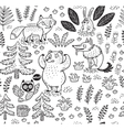 Hand drawn seamless pattern with animals in vector image vector image